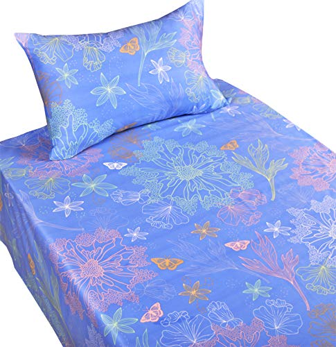 J-pinno Dreamy Beauty Flowers Butterfly Twin Sheet Set for Kids Boys Girls Children,100% Cotton, Flat Sheet + Fitted Sheet + Pillowcase Bedding Set