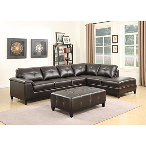 Emerald Home Marquis Walnut Sectional with Faux Leather Upholstery, Padded Arms, And Contrast Stitching - Emerald Marquis