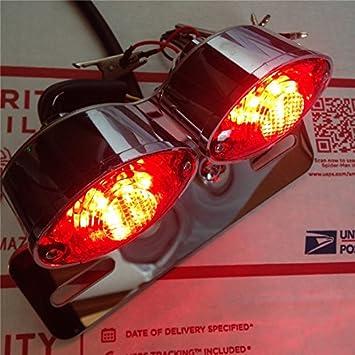 black Cat Eye Custom Motorcycle Rear Brake Stop Tail License Plate Running LIGHT