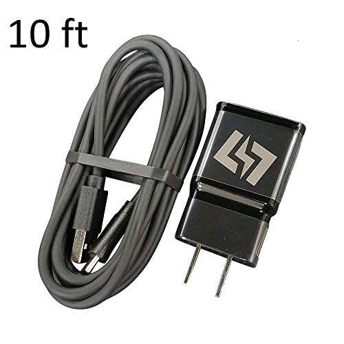 Fast Charger for Samsung Galaxy S9 S9+ S8 S8+ Note 8 9 + 10 Foot Type C USB-C Data Charging Cable - Black QuickCharge 2.0