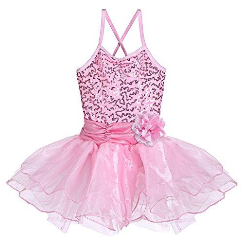 [BAOHULU Girls Kids Sleeveless Shiny Princess Tutu Gallus Ballet Dress Pink 5-6Y] (Holiday Ballet Costumes)
