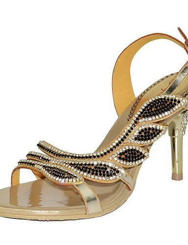ShangYi Womens Shoes Leather Stiletto Heel Heels Sandals Party & Evening / Dress / Casual Green / Gold golden