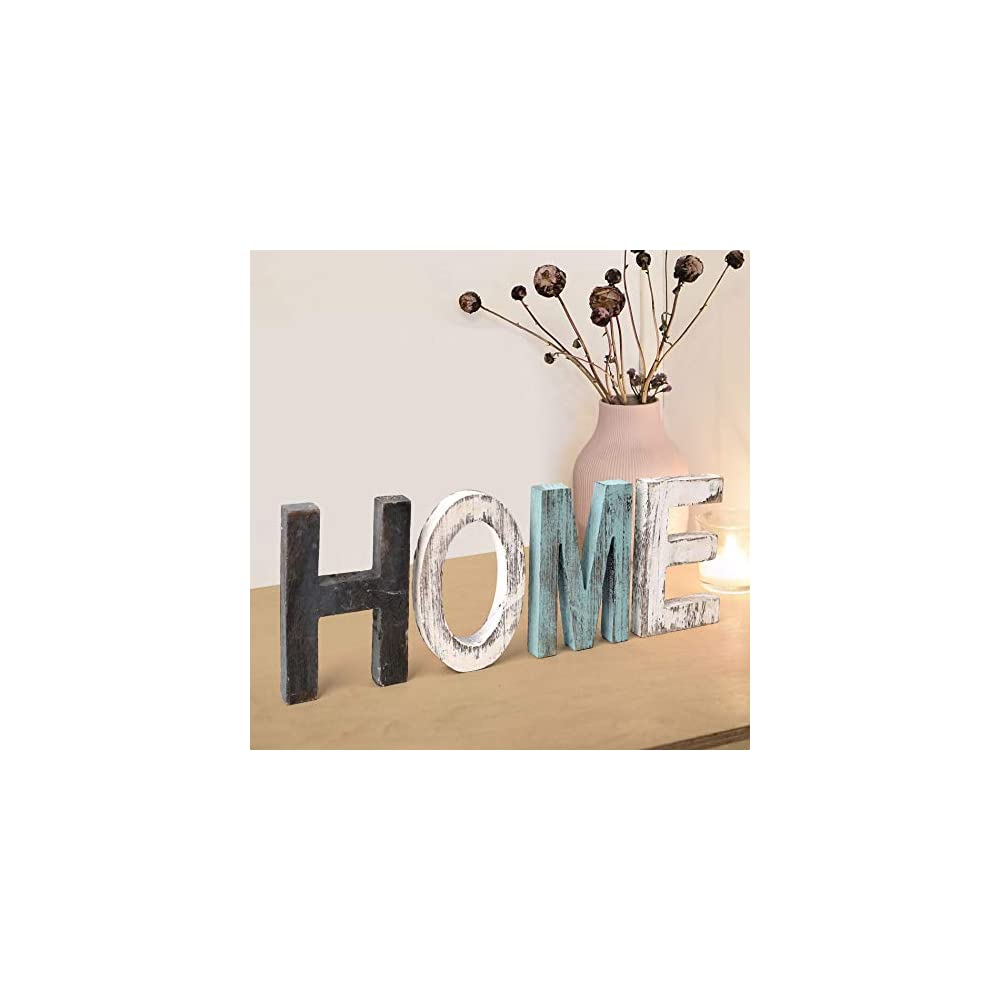Home Sign Home Decor Signs, Teal Wall Decor Home Wooden Letters for Wall Decor Rustic Home Sign Turquoise