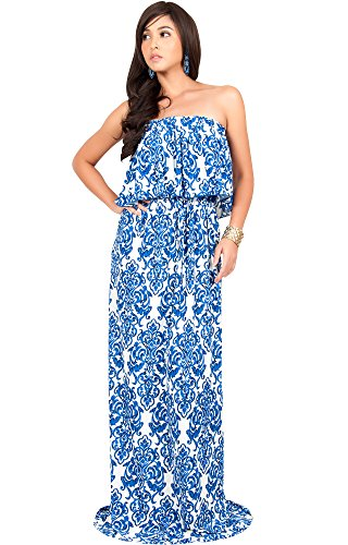 Printed Strapless Gown - 5