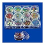 12pc Clear Bead Storage Gem Jars in Display Case - Screw-On Tops - 1-1/2 In. Round