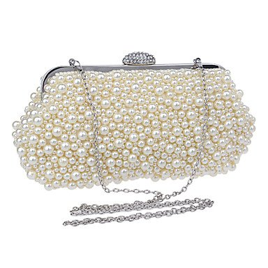 Las mujeres evento formal de poliéster/Partido Bolsa de noche de bodas Bolsos Bolso De cuero,beige White
