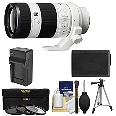 Sony Alpha E-Mount FE 70-200mm f/4.0 G OSS Zoom Lens with NP-FW50 Battery & Charger + Tripod + Kit for A7, A7R, A7S Mark II Cameras