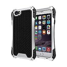 iphone 6s plus case, Feitenn Shockproof Rain proof Armor Trank Aluminum Metal bumper Gorilla Glass Military Heavy duty Silicon Rubber case Waterproof case for iphone 6 plus (Black/Sliver)
