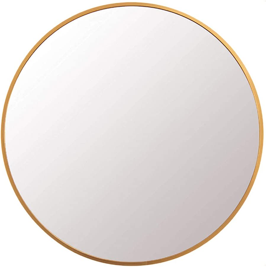 FANYUSHOW Round Mirror for Bathroom, Orange Circle Mirror for Wall Mounted, 24'' Modern Brushed Frame Round Mirror for Wall Decor, Vanity, Living Room, Bedroom