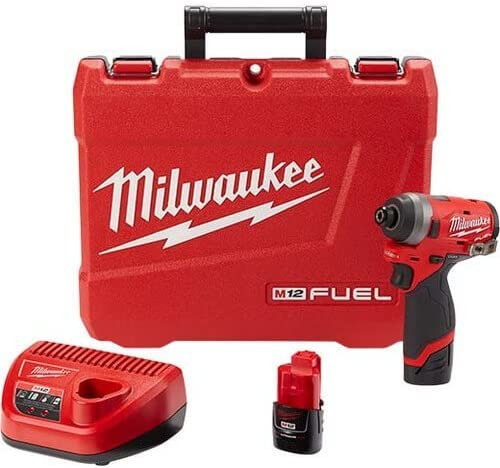 Milwaukee 2553-22 M12 FUEL 12-Volt Lithium-Ion Brushless Cordless 1 4 in. Hex Impact Driver Kit w Two 2.0Ah Batteries, Charger Hard Case