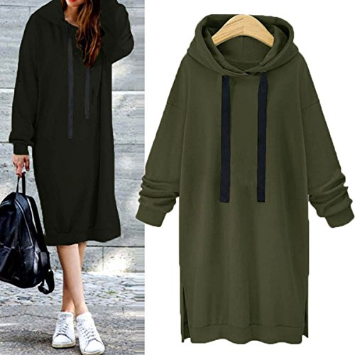 With Long Casual Celmia Dress Green Pullover Tunic Plus Army Women Size Pockets Loose Sleeve Hooded Sweatshirt tx7HqzT