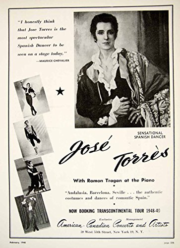 Spain Dance Costume (1948 Booking Ad Jose Torres Spanish Dancer Dance Spain Costume Ramon Tragon MAM1 - Original Booking Ad)