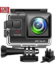 Victure Action Cam 20MP Ultra HD 4K Wi-Fi Impermeabile 40M Immersione Sott'Acqua 170° Grandangolare Camera con Caricabatteria Kit Accessori Due 1050mAh Batterie