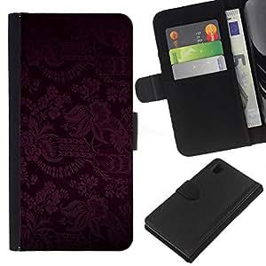 All Phone Most Case / Oferta Especial Cáscara Funda de cuero Monedero Cubierta de proteccion Caso / Wallet Case for Sony Xperia Z1 L39 // Dark Black Purple Floral Pattern