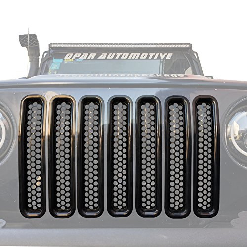 (Black Front Grill Mesh Inserts Clip-in Honeycomb Grille Guards for 1997-2006 Jeep Wrangler TJ & Unlimited (Pack of)