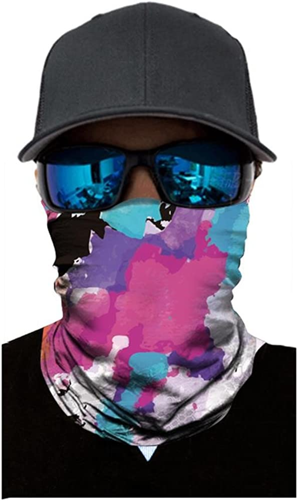 Juliyues Unisex Mode Multifunktionstuch Gesichtsmaske Motorradmaske Fahrrad Bedrucktes Gesichtsmaske,Skifahren Bandana Halstuch Kopftuch Sturmmaske Schal f/ür Bergsteigen Trekking Skateboarden