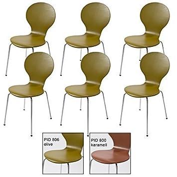 Stockholm 6 Stück Design Klassiker Stuhl Stühle stapelbar bunt ...