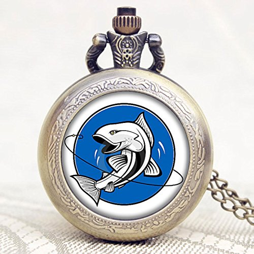 - Vintage Fishing Design Pocket Watch-Bronze Plated Pendant Necklace-Wearable Art Pocket Watch-Handmade Necklace Jewelry For Women Men Kids Gifts