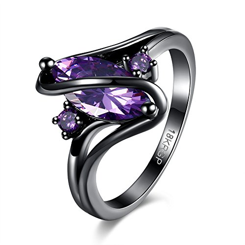 Eternity Love Wedding Bands Women's 18K Black Gold Plated Rings Princess Cut Blue/Green/Purple CZ Crystal Engagement Rings Best Promise Rings Anniversary Wedding Rings for Lady Girl, JPR868-Purple-7