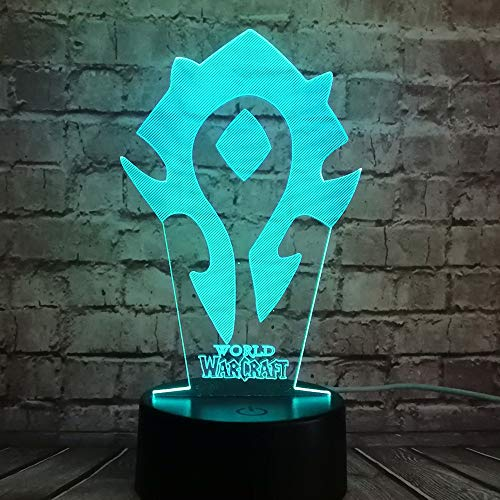New Illusion 7 Color Charge Game Wow World of Warcraft Tribal Signs 3D Bedroom Battery Power Desk Lamp Table LED Night Light Kids Children Holiday Xmas Friends Gift(World of Warcraft Logo)