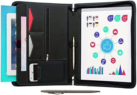 Zippered Portfolio Padfolio Interview Organizer