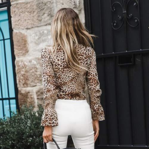 Moda Yuanu Camicia Shirt Dritto Donna Stampa Tops Crop Manica Leopard Colletto T Confortevole Chiffon Bianco Lunga Loose UvpCq