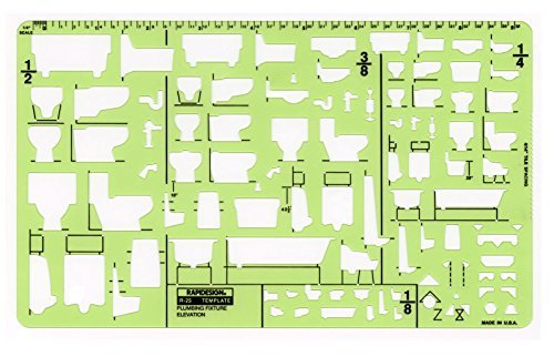 Rapidesign Plumbing Fixtures-Elevation Template, 1 Each (R25)