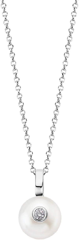 Collar Lotus Colección Pearls, LP1279-1/1, para Mujer de Plata con circonita y Perla Blanca.