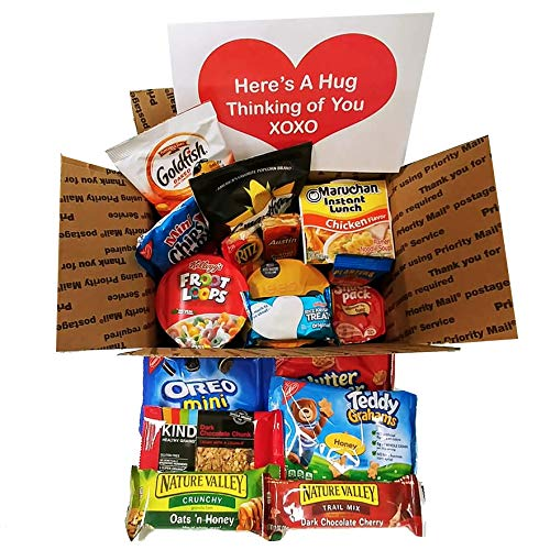 Care Package Hugs From Home: Snack Package for Students, Military, Men, Women with Snacks Variety -