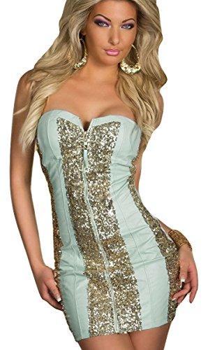 Azul y oro lentejuelas Bodycon vestido Club Wear tamaño M UK 10–12EU 38–40