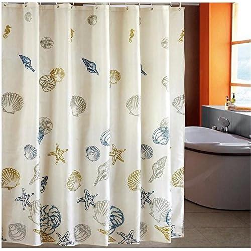 Dodou Mediterranean Sea Starfish Shells Waterproof Shower Curtain 72x72 Inch