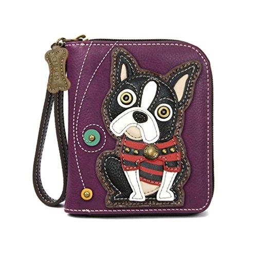 (Chala Zip Around Wallet, Wristlet, 8 Credit Card Slots, Sturdy Pu Leather, Boston Terrier- Purple)