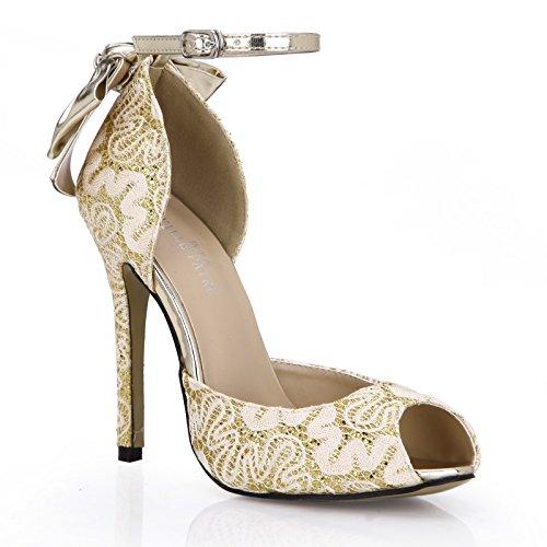 argent Gold hautes fleurs nouveau de goût talon de invités mariage femmes chaussures femmes Les chaussures poisson célibataires belles des les au pointe UqBnx17vE