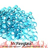 "Mr. Fireglass 1/2"" Reflective Fire Glass Drops with Fireplace and Fire Pit, 10 lb, Caribbean Blue"