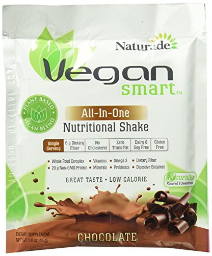VeganSmart Plant Based Vegan Protein Powder by Naturade,  All-In-One Nutritional Shake - Chocolate Single Serving, 1.6 oz