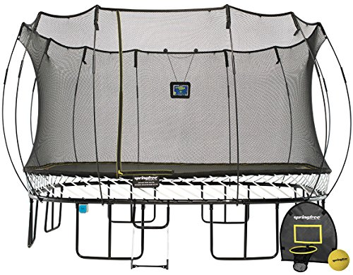 Springfree Trampoline - 13ft Jumbo Square Smart Trampoline With Basketball Hoop, Ladder, tgoma