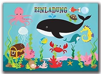 Einladungskarten Kindergeburtstag Fische Mit Unterwasserwelt Jungen Mädchen    8 Stück Wal Wale Schatztruhe Krabbe Krebs Tintenfisch