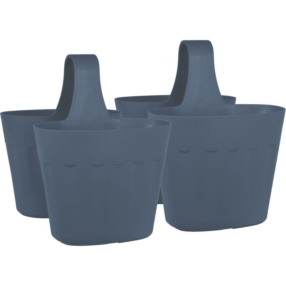 Pride Garden Products Mela 15 in. Lightweight, Frost-Proof, UV Resistant Large Rim Plastic Saddlebag Pot Container Rail Planter (2-Pack) in Dark Gray