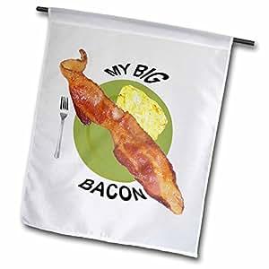 fl_46457_1 Sandy Mertens Food Designs - My Big Bacon - Flags - 12 x 18 inch Garden Flag