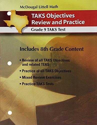 Holt McDougal Larson Algebra 1 Texas: TAKS Practice Workbook Student s Edition Algebra 1