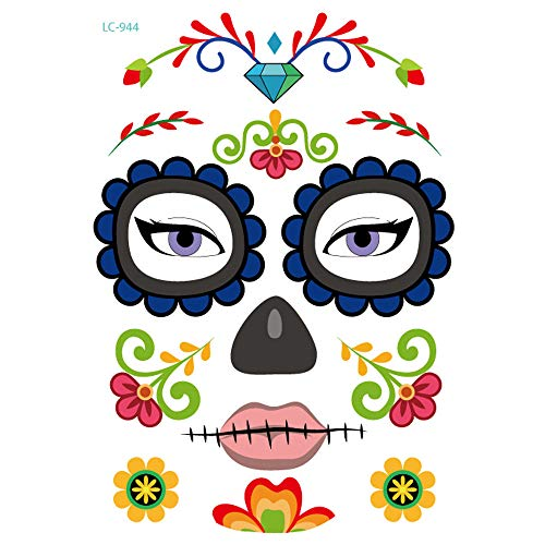 Inverlee 1 Sheet Inverlee Waterproof Facial Temporary Tattoos Day of The Dead Sugar Skull Stickers Halloween Party Terror Scar Makeup Tattoo Stickers (G) -