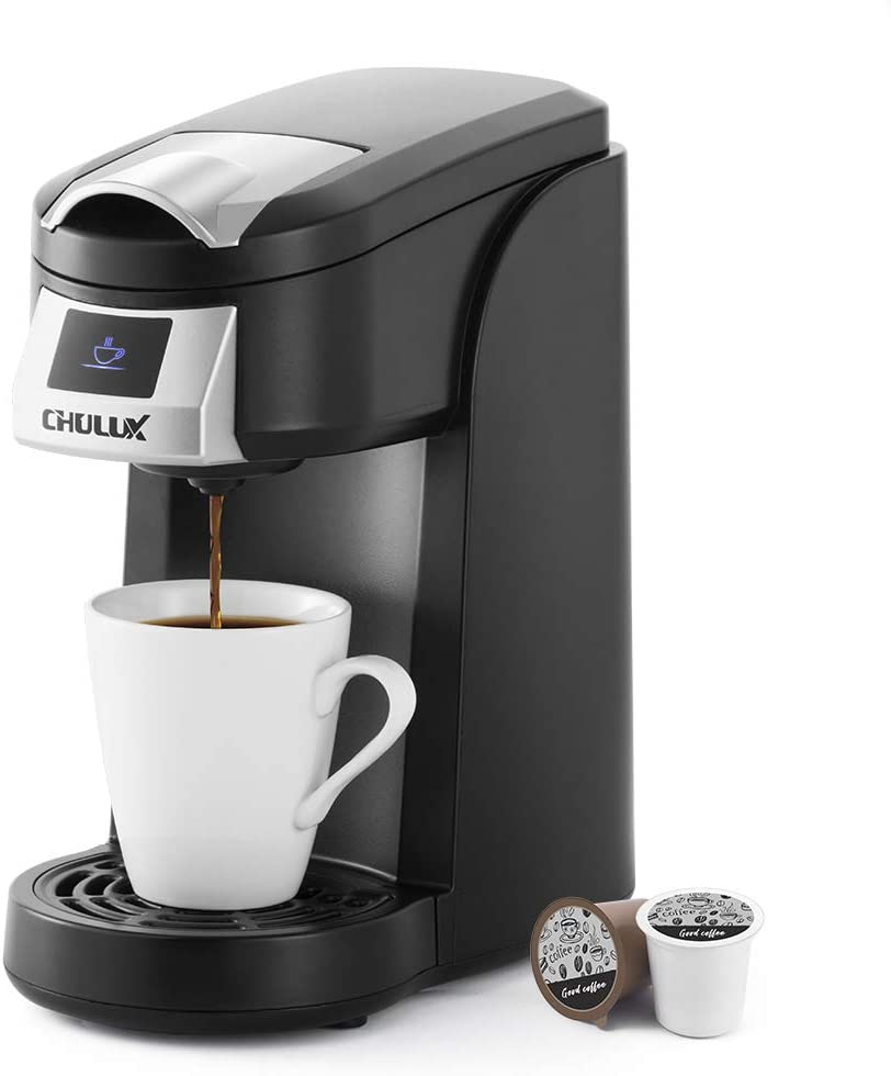 CHULUX Upgrade Single Serve Coffee Maker, 12oz Fast Brewing Machine Brewer Compatible With Pods & Reusable Filter, Auto Shut-Off, One Button Operation, for Hotel, Office, or Travel
