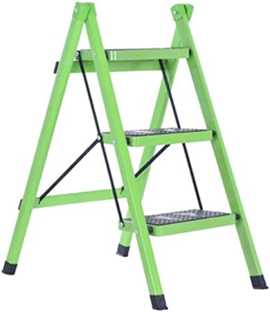 Huahua Furniture Plegables Hogar Escaleras, Escalera de Acero de 3 Pasos - Patas Antideslizantes - Fácil de Guardar Plegable - Ideal para casa/Cocina/Garaje Capacidad máxima de 150 kg (Color : Green): Amazon.es: Hogar
