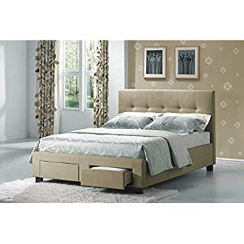 emerald home beige upholstered bed with two drawers and button tufting queen