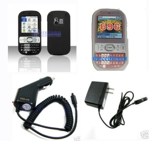 4 Pieces: Palm Treo690 Silicone case skin White , Black ,Travel Home Charger and Car Charger