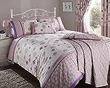 Luxury Fleur Duvet Quilt Cover Double Bed Floral Flowers Bedding Linen Set Mauve by Opulence
