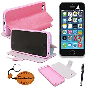 (TRAIT)5IN1 Pink Silica?Gel Leather Cases For iPhone 5C Protective Skin Covers+3*Screen Protector+Touch Pen