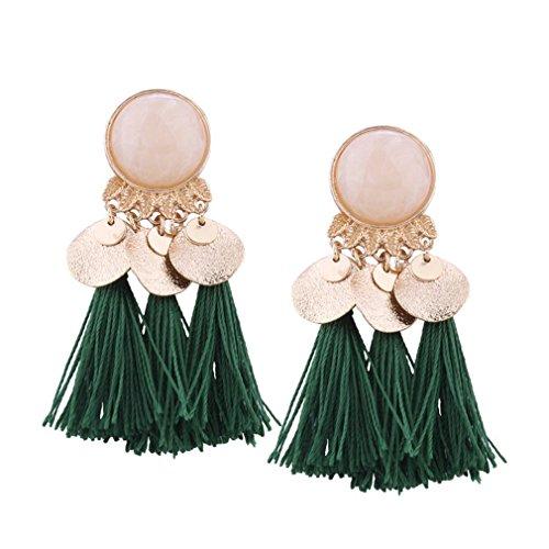Ethnic Bohemian Brincos Fringe Tassel Drop Dangle Earrings For Women Boucle D'oreille Femme Jewelry Boho Earrings Green