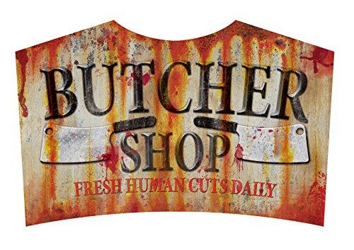 Butcher Shop Sign Metal Halloween Zombie Apacolypse Decoration Horror Prop