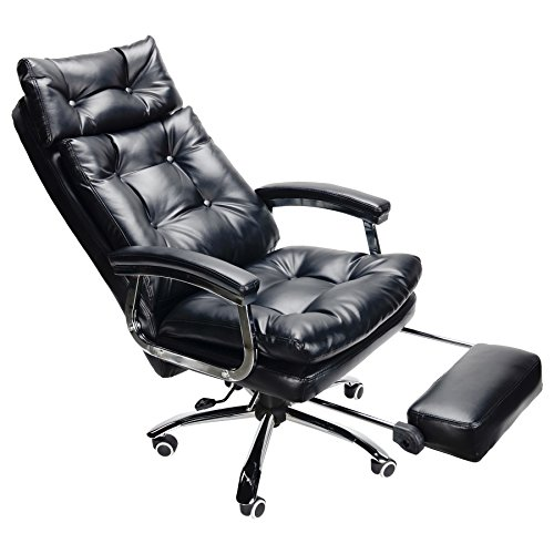 CO-Z Double Layered PU Swivel Casters Executive High Back Reclining Napping Office Chair with Footrest